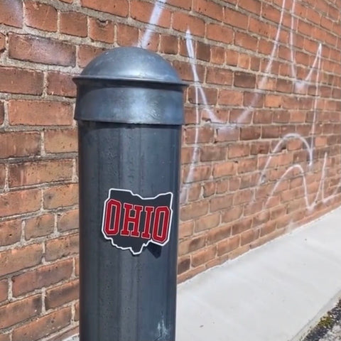 red and gray ohio magnet