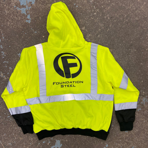 foundation steel safety green reflective hoodie