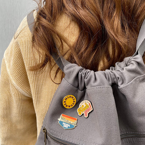 Midwesterener circle, Midwest heck yes and Toledo skyline enamel pins