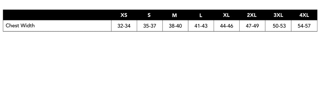 Size Chart for Unisex T-shirts