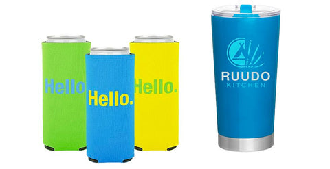 Summer Promo Items, slim can koozies and insulated tumbler to put your brand on