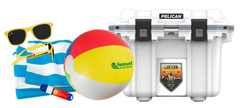 Summer promo items - towels, sunglasses, beach balls, coolers, and more