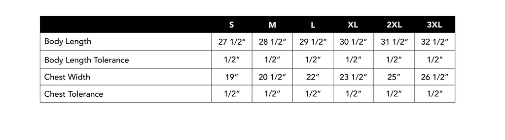 Size Chart for Tie Dye T-shirt