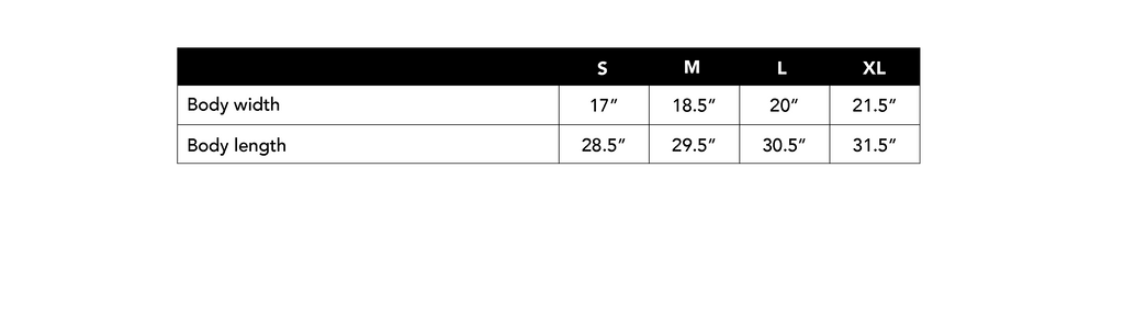 Size Chart for Unisex Tank Top