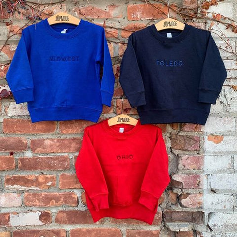 Youth Toledo, Ohio and Midwest embroidered crew sweatshirts