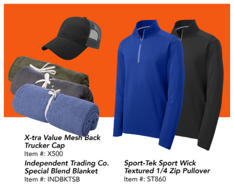 Customizable hats, blankets, and quarter zips