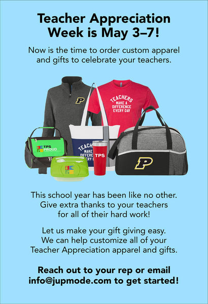 Teacher Appreciation Week is May 3-7! Now is the time to order custom apparel and gifts to celebrate your teachers.