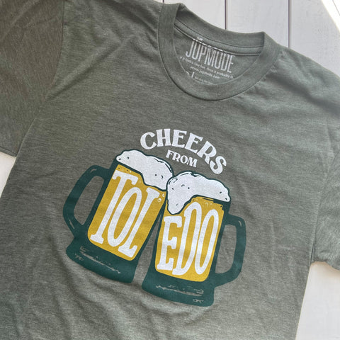 t-shirt with beer mugs that says cheers from toledo