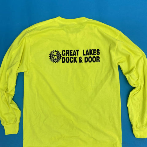 the back of safety green long sleeve shirts for great lakes dock and door