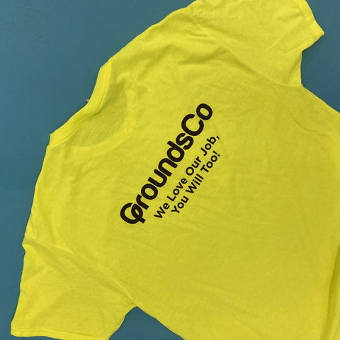 safety green screen printed tshirts for groundsco
