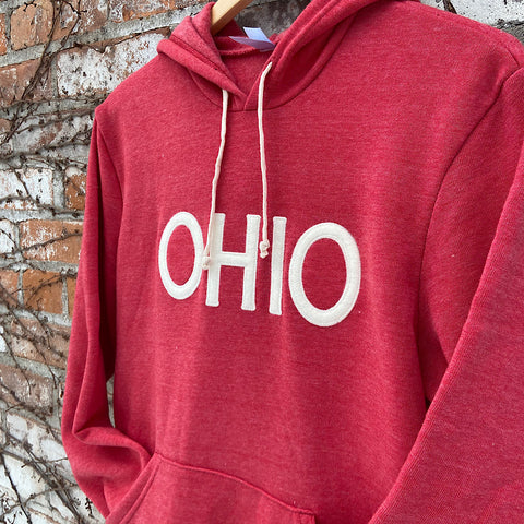 red hoodie with felt lettering sewn on that reads ohio