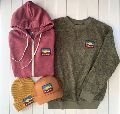 a zip hoodie, sweatshirt, ball cap, and winter beanie all with a custom midwest patch on them