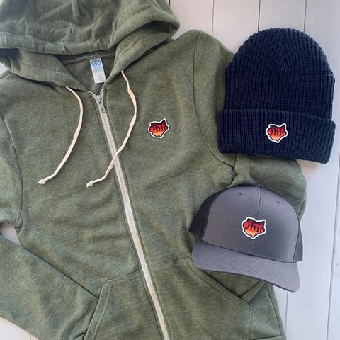 zip hoodie, trucker hat, and winter beanie with a state of ohio patch