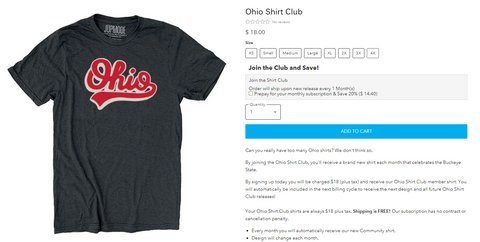 ohio t-shirt of the month club subscription