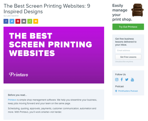printavo best screen printing websites