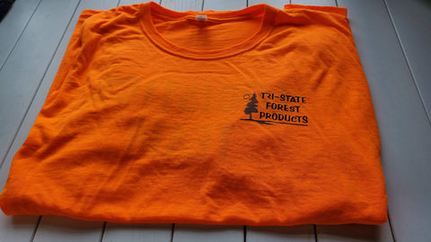 safety orange t-shirts screen printed for a building products company