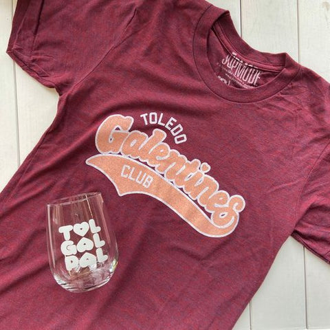 toledo galentine's day club shirt with a tol gal pal stemless wine glass on it