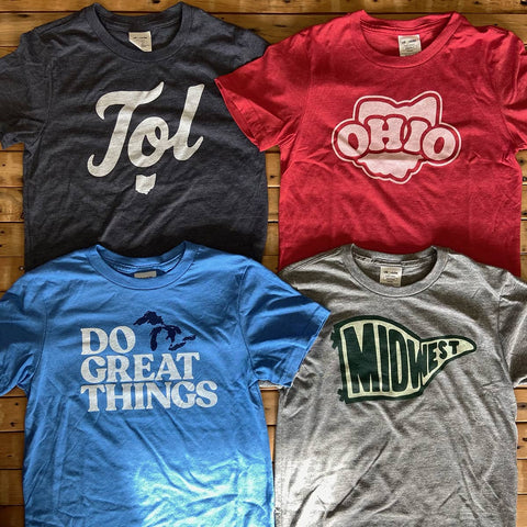 midwest, ohio, toledo, and michigan youth t-shirts