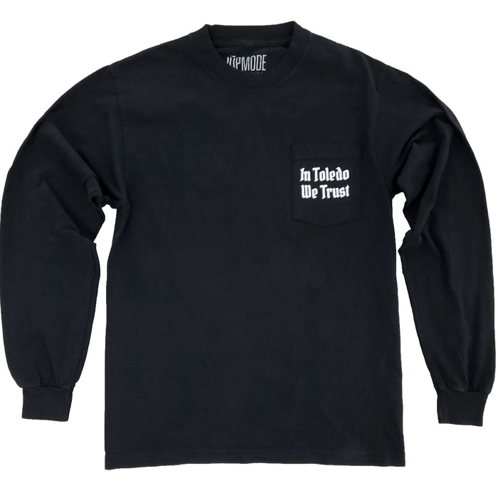In Toledo We Trust Garment Dyed Long Sleeve Pocket Shirt - Jupmode