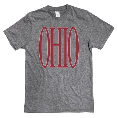 "Gray heather short sleeve shirt with large print in center chest reading ""Ohio"" in all caps in red with white outline."