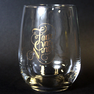 Fancy Four One Nine Metallic Gold Stemless Wine Glass - Jupmode