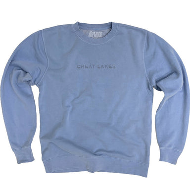 Blue sweatshirt with Great Lakes embroidered in the center chest in sans-serif lettering