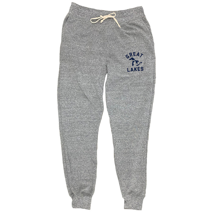 "Gray heather jogger-style sweatpants with a cream colored drawstring at waistband with a navy Great Lakes print on left thigh at the pocket line. The word ""Great"" arches overtop a silhouette image of the Great Lakes, with the word ""Lakes"" beneath it."