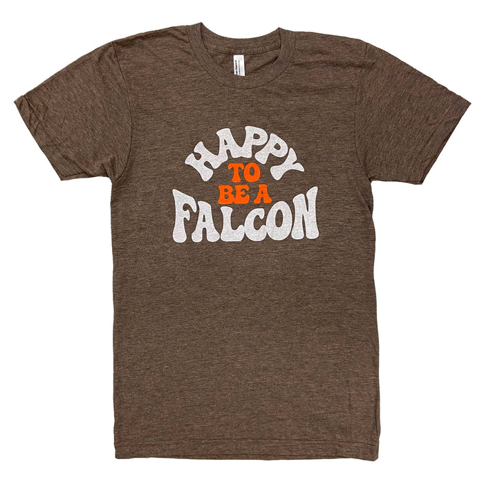 "Short sleeved brown heather shirt with ""Happy to be a Falcon"" in white and orange retro lettering style on center chest"