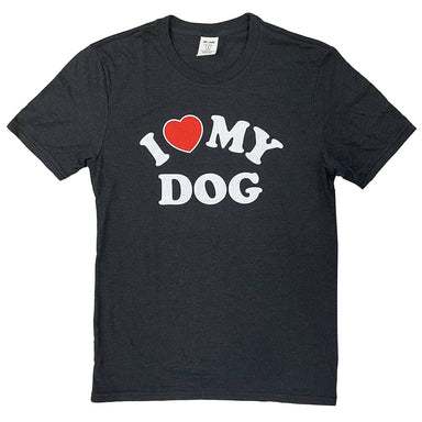Black heather short sleeved t-shirt with I (heart) My Dog written in all caps in the center chest. White and red print.