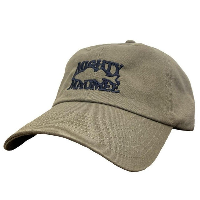 Light olive baseball cap with Mighty Maumee text forming negative space in the shape of a walleye. Navy embroidery.