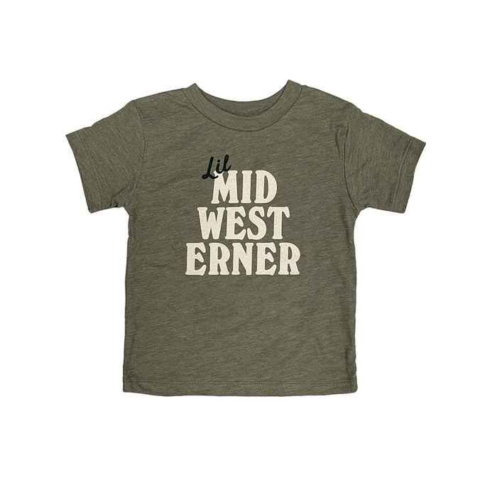 "Olive green toddler shirt with the words ""Lil Midwesterner"" on center chest in dark green and cream ink."