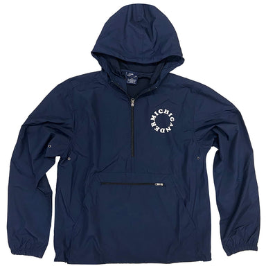 "Navy hooded pullover windbreaker with black zipper and a kangaroo pouch on front with black zipper closure. ""Michigander"" in the shape of a circle in white ink on the left chest."