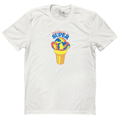 White short sleeve t-shirt with Michigan is Super arched in coral and bright blue above an illustration of an ice cream cone with Superman ice cream with the shape of Michigan in the swirls.