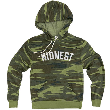 "Camo long sleeved hoodie with cream drawstrings with ""Midwest"" in all caps in white ink across chest in athletic style lettering."