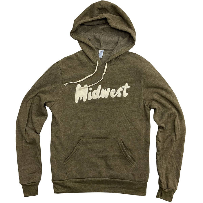 Dark olive heather textured hoodie with cream drawstrings and front pouch pocket with the word Midwest in a cream felt in script style lettering across chest.