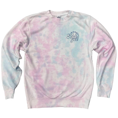 "Light pink and light blue tie dye crew neck sweatshirt with the words ""Midwest Heck Yes!"" printed small on the left chest in a darker blue ink."