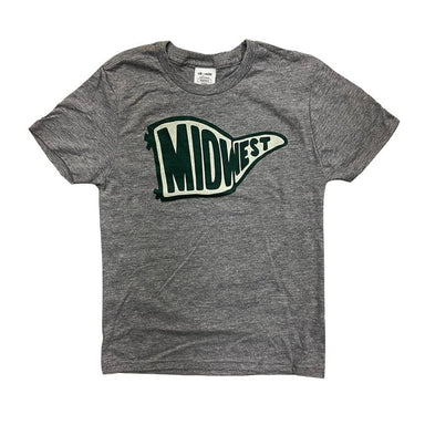 Heather gray short sleeved youth shirt with an illustration of a light green and dark green pennant in the center chest that says Midwest.