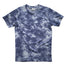 Blue and white tie dye short sleeved shirt with a small Midwesterner print in the center chest in dark blue ink in a serif font