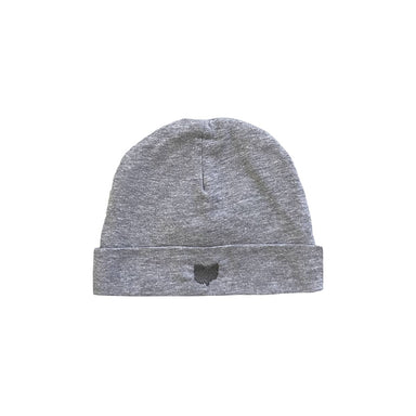 Baby sized heather gray beanie with cuffed edge and a gray embroidered state of Ohio shape on cuff.