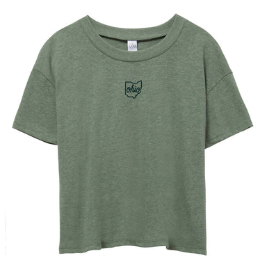"Light, earthy green short sleeve cropped shirt with small print in center chest reading ""Ohio"" in cursive with a state of Ohio outline around it in dark green ink."