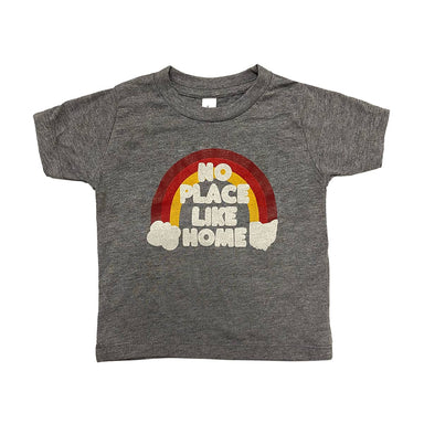 Todder sized short sleeved heather gray t-shirt that says No Place Like Home atop a dark red, bright red, and yellow rainbow with clouds at each end, one in the shape of Ohio and one in the shape of a cloud.