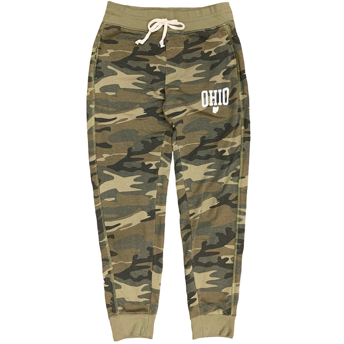 "Camo jogger-style sweatpants with a cream colored drawstring at waistband and a white print that says ""Ohio"" with a small Ohio icon beneath it in white ink at the pocket line on the left thigh."
