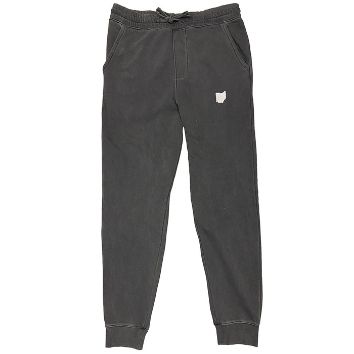 Faded black (gray) sweatpants with elastic waistband and drawstring with ribbed ankle cuff with the shape of Ohio embroidered in cream thread on left leg below pocket.