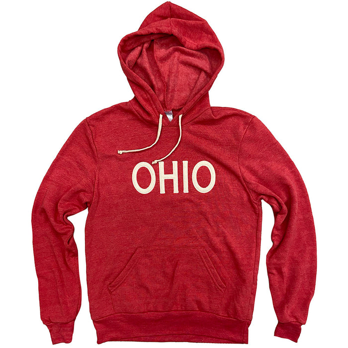 "Red hoodie with cream drawstrings and ""OHIO"" in all caps in cream felt across chest."