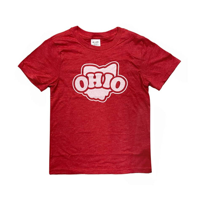 Short sleeved red youth t-shirt with a white design in center chest that says Ohio inside the shape of the state of Ohio with an outline around the shape and text.