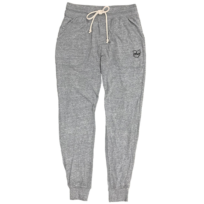 "Gray heather jogger-style sweatpants with a cream colored drawstring at waistband with a small black print on left thigh at the pocket line. Print says ""Ohio"" in all lowercase in thin cursive with the outline of the state of Ohio around it."