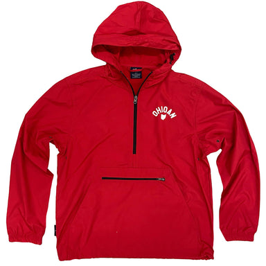 "Red hooded pullover windbreaker with black zipper and a kangaroo pouch pocket on front with black horizontal zipper opening with ""Ohioan"" arched over the state of Ohio in white on left chest"