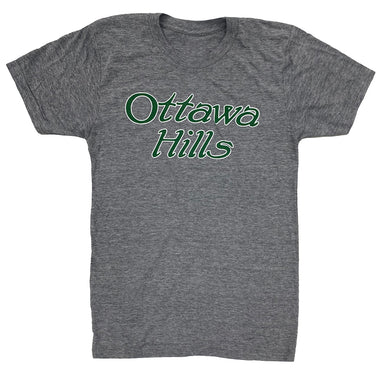 Gray short sleeved t-shirt with green Ottawa Hills vintage type in center chest with white outline.