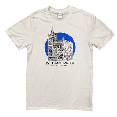 "Short sleeved off-white t-shirt with a black and white illustration of the Pythian Castle with a bright blue circle behind it and the words ""Pythian Castle"" in black and ""Toledo, Ohio 1890"" in red below the illustration."
