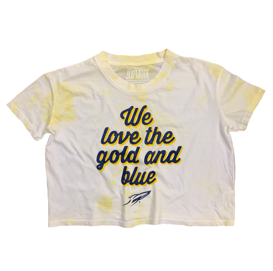UT Gold and Blue Tie Dye Crop Shirt